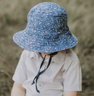 Bedhead Hats Paisley Indigo Kids Explorer Bucket Hat Reversible - Bedhead Hats hat - Nest 2 Me Baby Carriers Australia