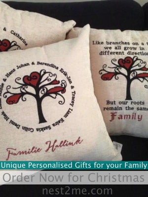 Coast Imagewear Personalised Embroidered Family Tree White Cushion Cover (no insert) personalised cushion - Nest 2 Me Baby Carriers Australia