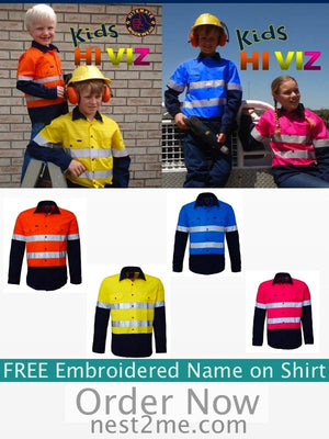 Coast Imagewear Personalised Hi Vis Kids Work Shirts - PREORDER NOW personalised kids hi vis work shirts - Nest 2 Me Baby Carriers Australia