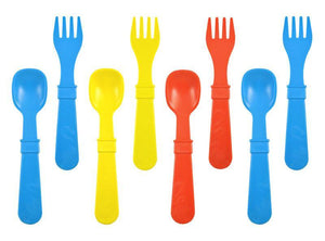 Replay Re-Play Utensils 8 Pack - 4 fork 4 spoon - blue red yellow utensils - Nest 2 Me Baby Carriers Australia