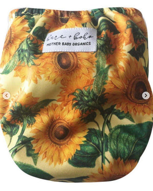 Bare + Boho Sunflower - Bare + Boho Designer Modern Cloth Nappy V2 One Size Fits Most Nappies - Nest 2 Me Baby Carriers Australia