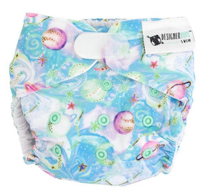 Designer Bums Swim Nappy Designer Bums Reusable - Milky Way with snaps swim nappies - Nest 2 Me Baby Carriers Australia