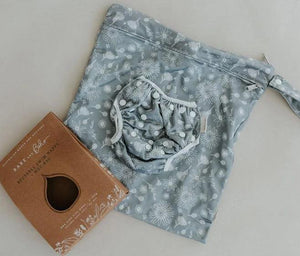 Bare + Boho Wildflower Grey - Bare and Boho Reusable Swim Nappy and Wetbag Set OSFM Nappies - Nest 2 Me Baby Carriers Australia