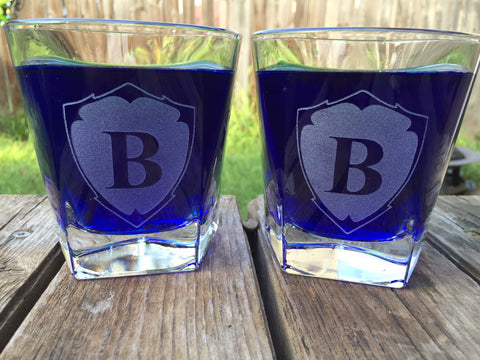Monogrammed Whiskey Glass Pair - EV Designs