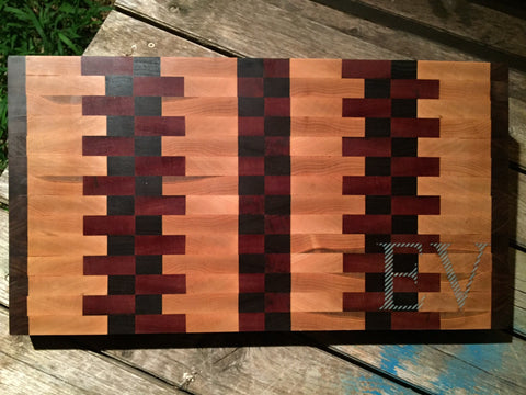 Random Pattern End Grain Cutting Board - EV Designs