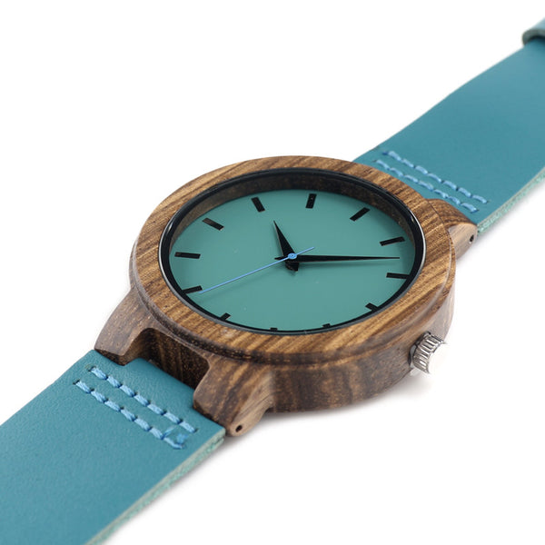 Men's Blue Leather Band With Blue Analogue Display Bamboo Wooden Watch in Gift Box