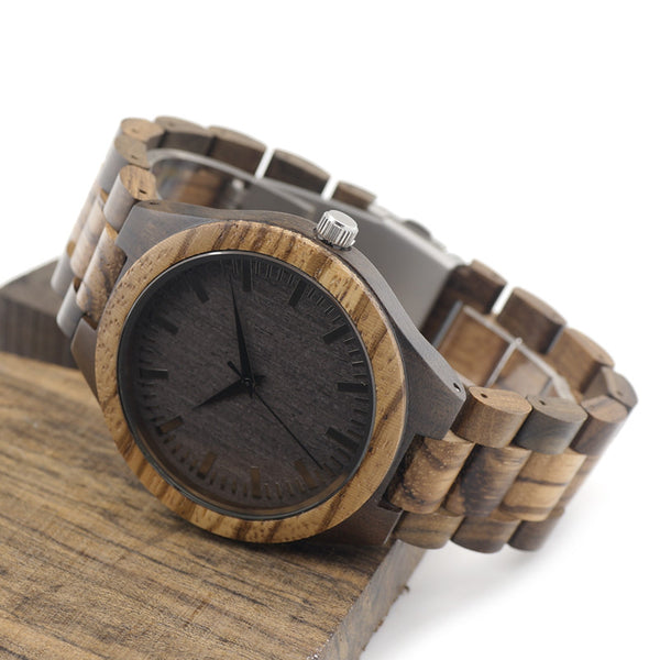 Round Vintage Zebra Wood Case Men's Watch With Ebony Bamboo Wood Face & Zebra Bamboo Wood Strap