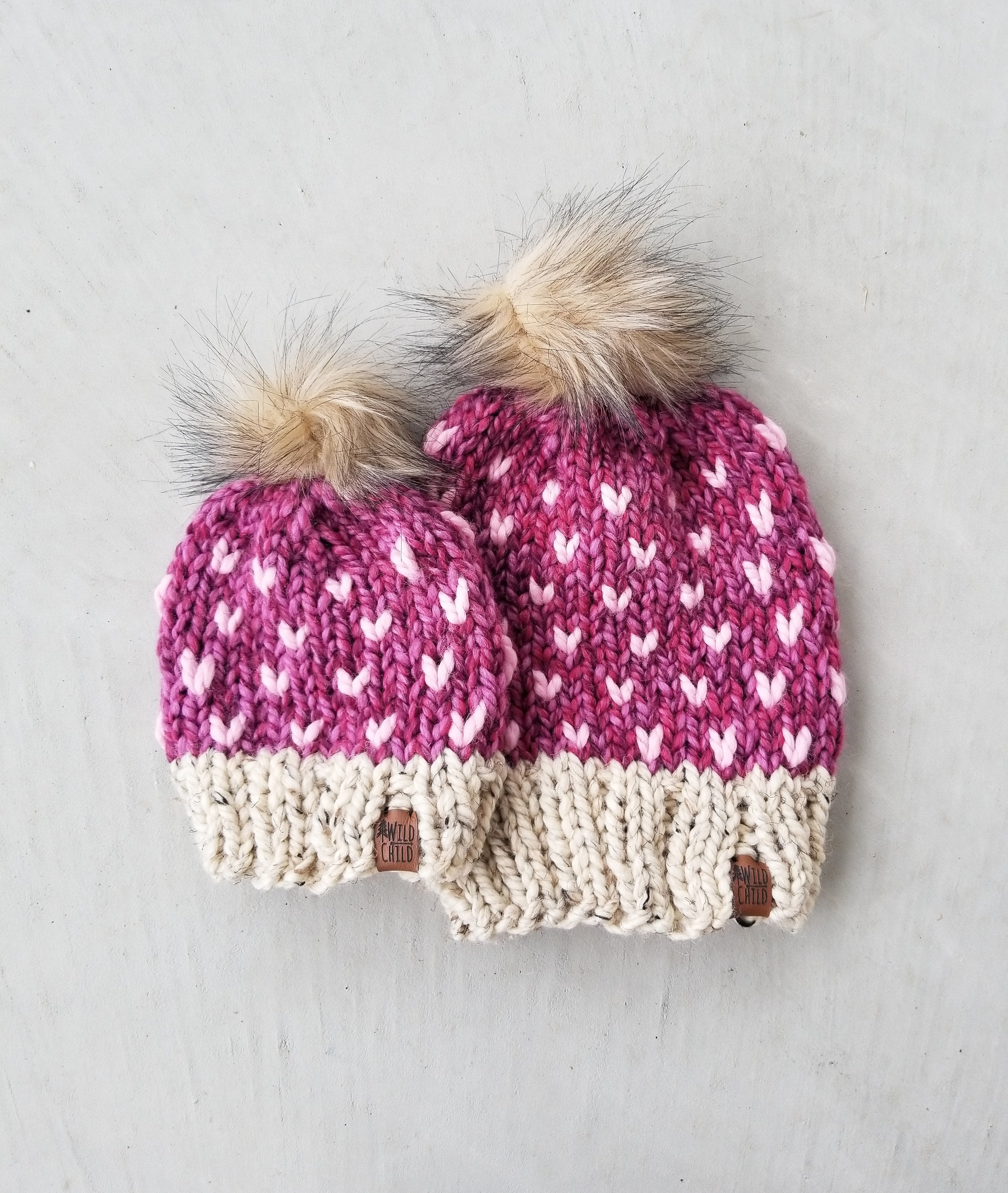 Knit Toque - Two-toned (mini hearts) - Custom Order
