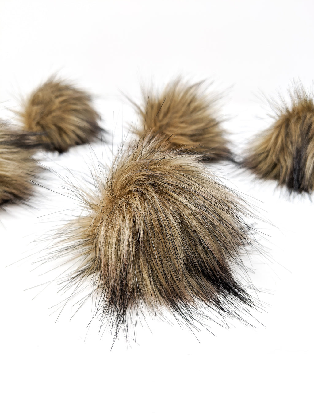 Brown Faux Fur Pom Poms