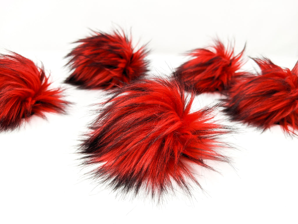 Fire Red Faux Fur Pom Poms