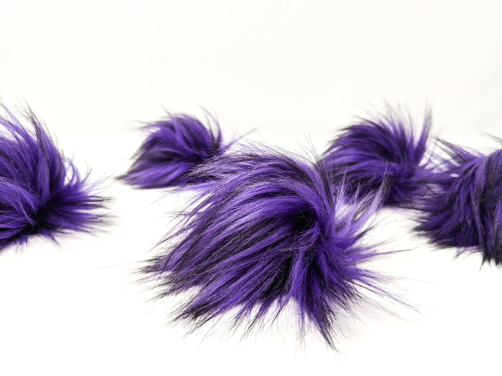 Violet Purple Faux Fur Pom Poms
