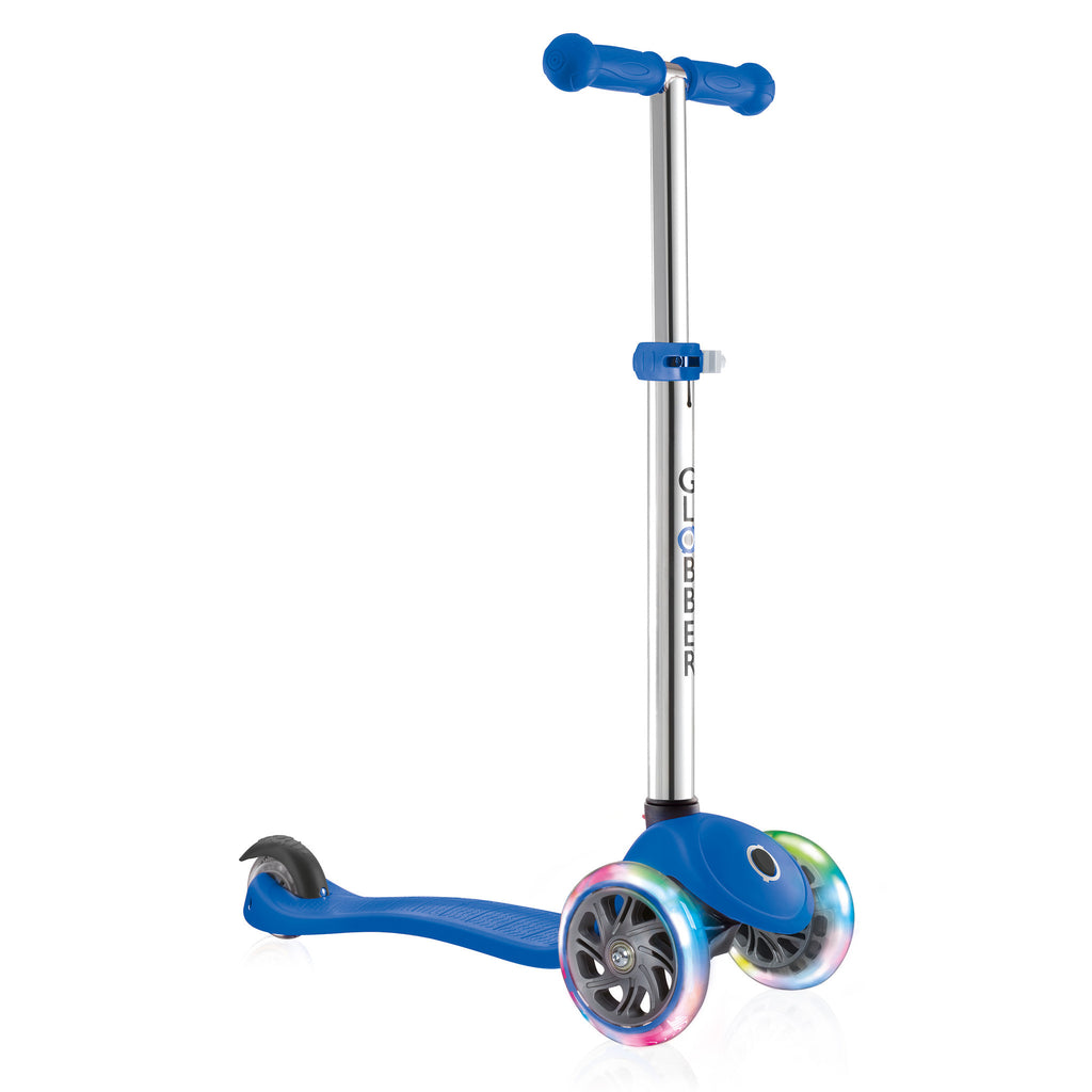 Globber Primo 3 Wheel Adjustable Height Scooter w/ LED Light Up Wheels