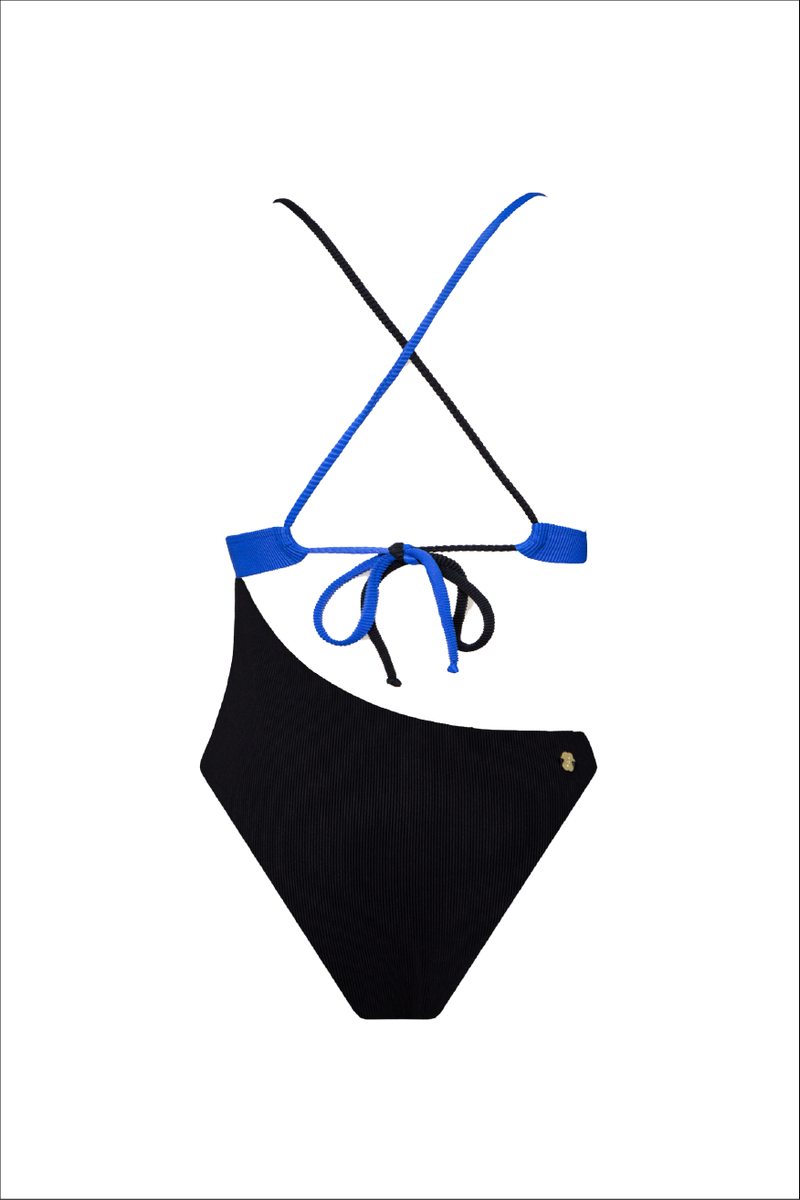 Black and Blue ribbed bicolor swim