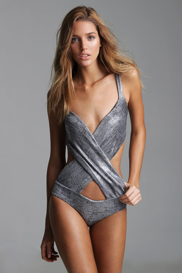 Silver cross-side swimsuit