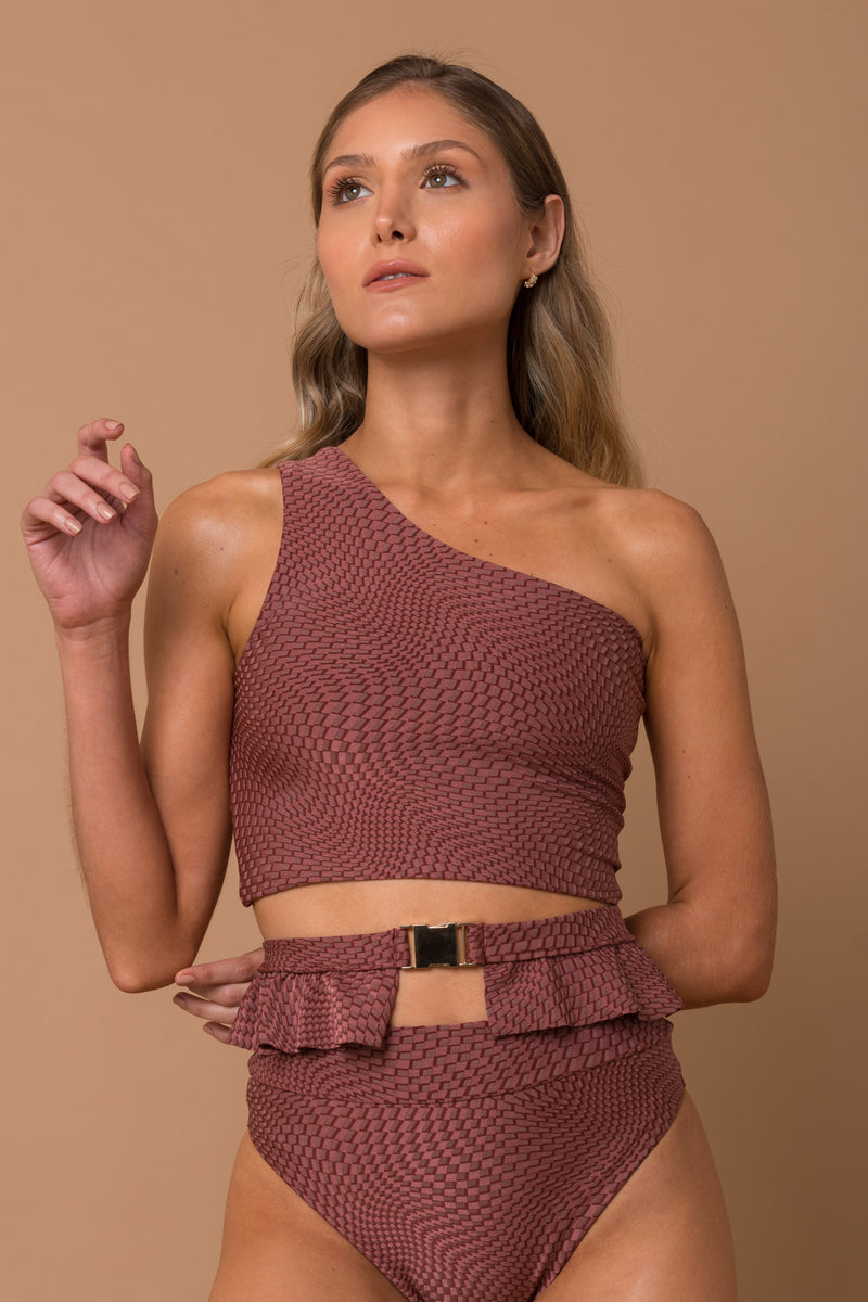 Rosé texture ruby high waisted with ruffle belt
