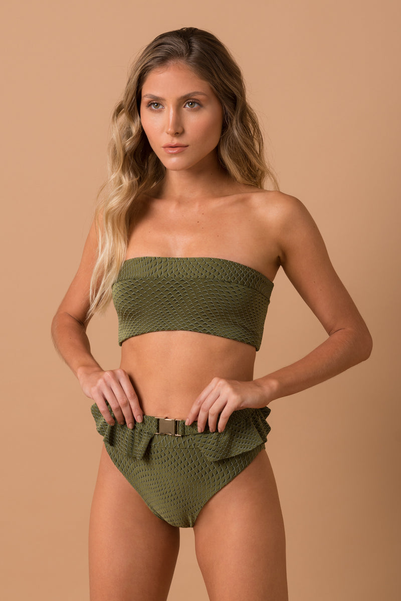 Olive texture edgy with ruffle belt