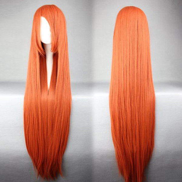 100cm Long Bleach-INOUE ORIHIME red orange Cosplay anime Wig,Colorful Candy Colored synthetic Hair Extension Hair piece 1pcs WIG-018I