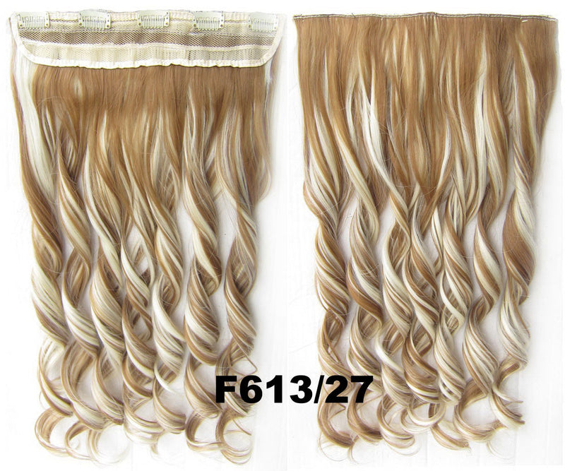 Clip in synthetic hair extension hairpieces 5 clips in on wavy slice hairpiece GS-888 F613/27,60cm,130grams 1PCS