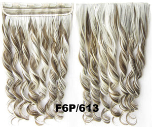 Clip in synthetic hair extension hairpieces 5 clips in on wavy slice hairpiece GS-888 F6P/613#,60cm,130grams 1PCS