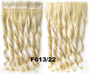 Clip in synthetic hair extension hairpieces 5 clips in on wavy slice hairpiece GS-888 F613/22,60cm,130grams 1PCS