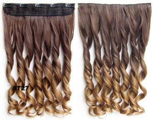 "Dip dye hairpieces New Fashion 24"" Women Clip in on gradient wig Bath & Beauty Hair Ombre Hair Extensions Two Tone Curly Hair Gradient Hair Extension Colorful Hairpieces GS-888 8T27,1PCS"