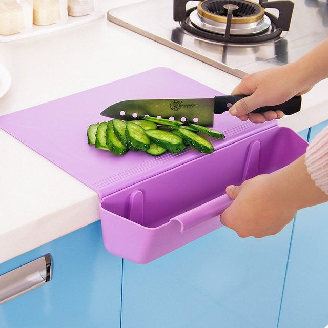 Counter Edge Cutting Board with Collapsible Scrap Bin