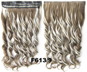 Clip in synthetic hair extension hairpieces 5 clips in on wavy slice hairpiece GS-888 F613/9,60cm,130grams 1PCS