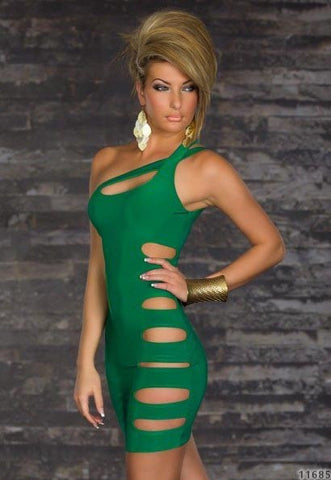 Women gowns dress sexy One Shoulder Asymmetrical Hollow Bodycon Bandage Cut Out Sheath Clubwear Dresses Party Costume Mini Novelty Dresses clothing N086 Green