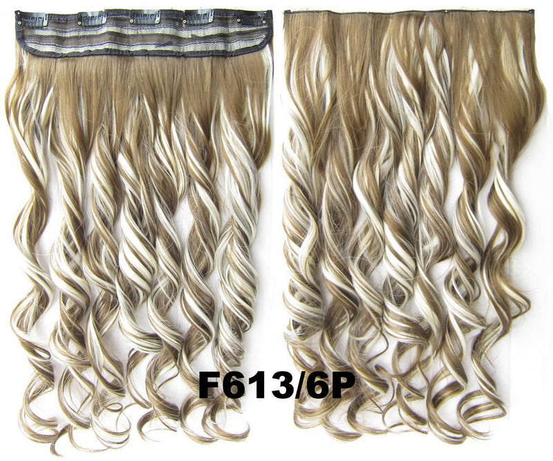 Clip in synthetic hair extension hairpieces 5 clips in on wavy slice hairpiece GS-888 F613/6P,60cm,130grams 1PCS