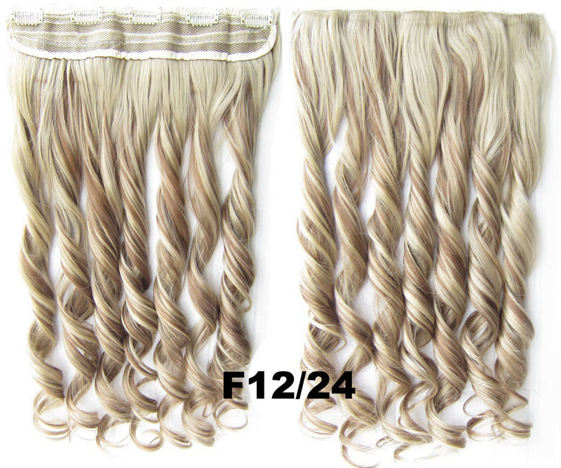 Clip in synthetic hair extension hairpieces 5 clips in on wavy slice hairpiece GS-888 F12/24,60cm,130grams 1PCS