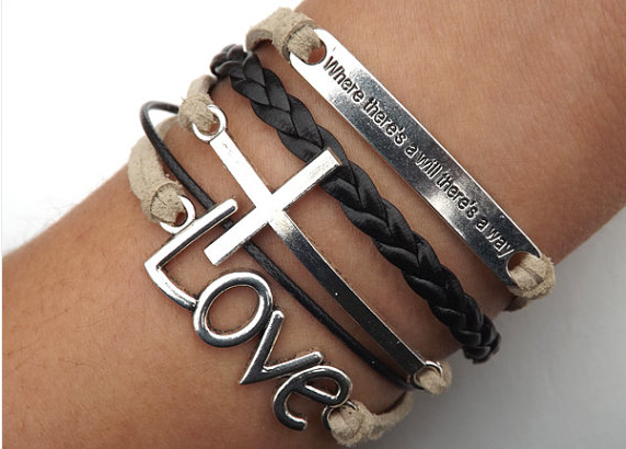 Arrow heart Cross Love Inspirational Bracelet,telesthesia Bracelets,Hipsters jewelry,Bracelet,Black braided bracelet,Couples bracelet,lover bracelets,bangle bracelet,leather bracelet,charm bracelet,brown wax rope Bracelet