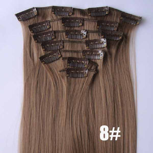 Bath&Beauty clip in synthetic hair extensions 7pcs/set,17 colors,90grams hairpieces clip in hair 7pcs Straight hair,curly hairpiece,Hair Care,fashion COSPLAY ombre 1PCS
