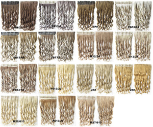 Clip in synthetic hair extension hairpieces 5 clips in on wavy slice hairpiece GS-888 M22/613,60cm,130grams 1PCS