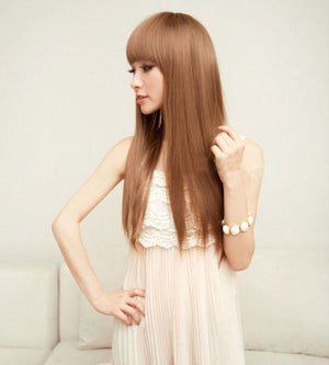 Charming Flaxen Wig Neat Bang Long Straight Hair Cosplay Chic Lady Girl Full Wig
