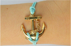 Golden Anchor Bracelet,Turquoise bird apple green Bracelets,Hipsters jewelry,Bracelet,braided bracelet,Couples bracelet,lover bracelets,bangle bracelet,leather bracelet,charm bracelet,Turquoise wax rope Bracelet