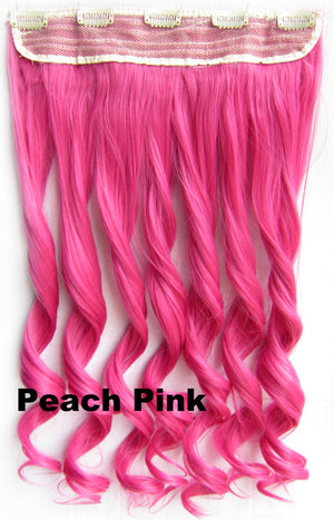 Peach Pink Ombre Colorful Candy 5 Clip in Hair Extensions 1Weft=5pcs Body Wave Texture Hair Synthetic Hair Extension High Quality Wig