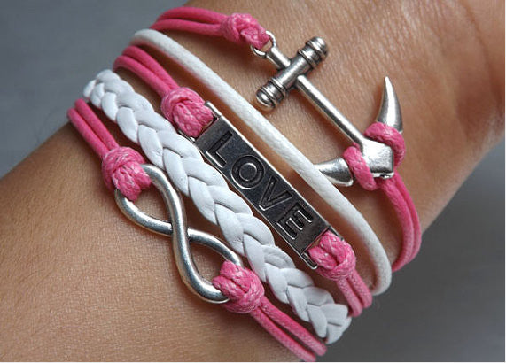 infinity love Anchor Bracelet,Hot Pink bird Bracelets,Hipsters jewelry,Bracelet,white braided bracelet,Couples bracelet,lover bracelets,bangle bracelet,leather bracelet,charm bracelet,Hot Pink wax rope Bracelet