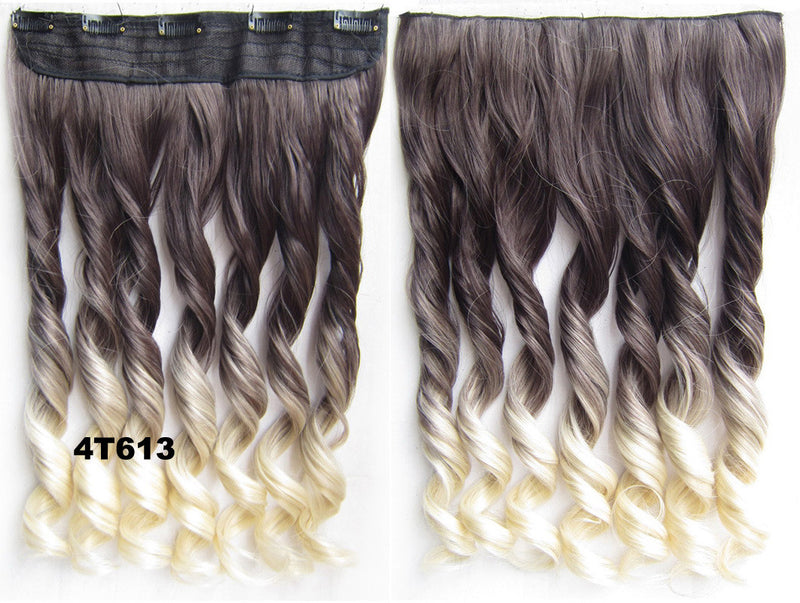 Clip in synthetic hair extension hairpieces 5 clips in on wavy slice hairpiece GS-888 4T613,60cm,130grams 1PCS