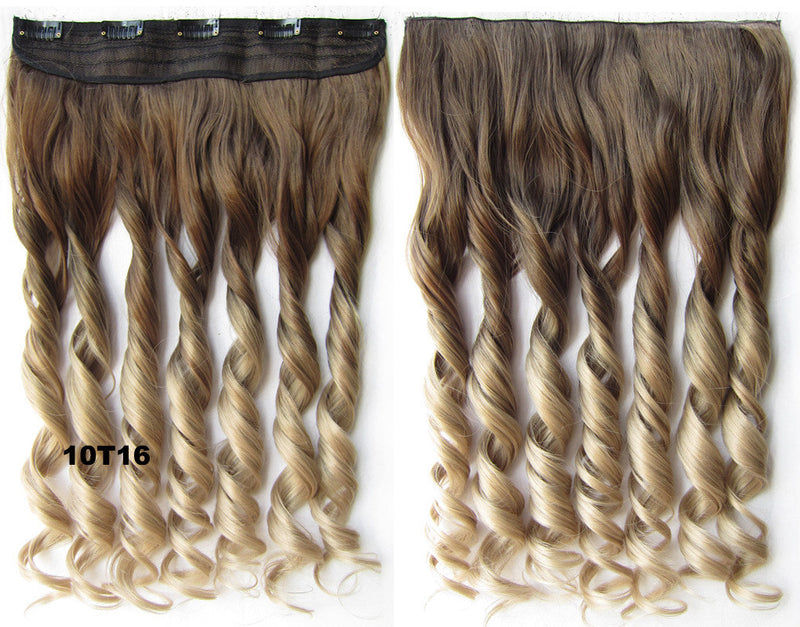 Clip in synthetic hair extension hairpieces 5 clips in on wavy slice hairpiece GS-888 10T16,60cm,130grams 1PCS