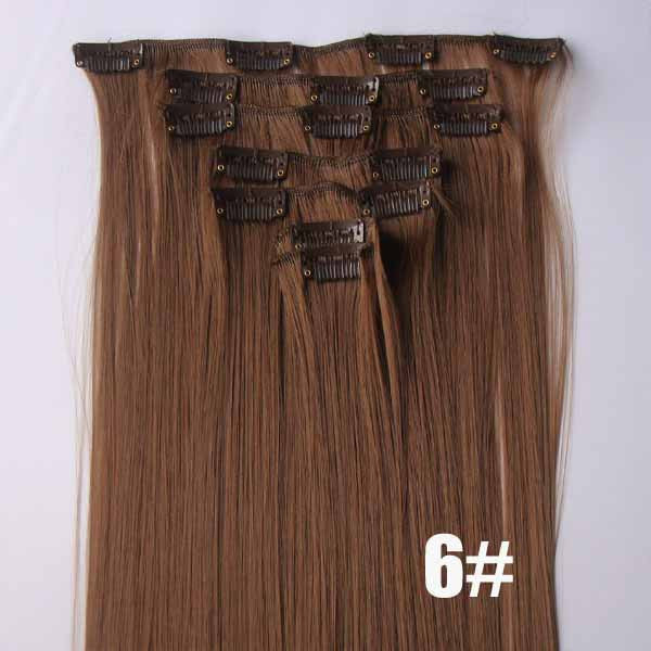 6# Bath&Beauty clip in synthetic hair extensions 7pcs/set,90grams hairpieces clip in hair 7pcs Straight hair,curly hairpiece,Hair Care,fashion COSPLAY ombre 1PCS
