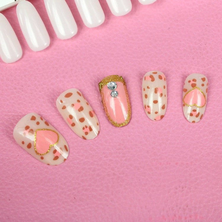 Heart 3D carved Manicure tablets Golden pink False nail Bride Manicure tablets nail stickers bradawl nail painting 53#