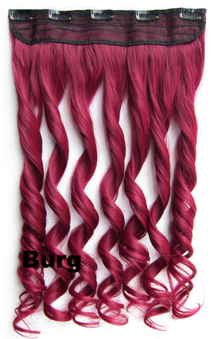 Burg Ombre Colorful Candy 5 Clip in Hair Extensions Body Wave Texture Hair Synthetic Hair Extension, High Quality Wig