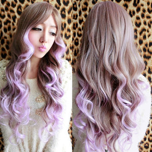 Anime Cosplay Ormbre Wigs Women Long Wavy Hair Light Brown to Light Purple Mixed Curly Wig Angel Kanekalon Long Curly wavy Sexy Harajuku Hair Wig