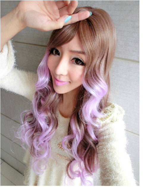 Anime Cosplay Ormbre Wigs Lolita Women Long Wavy Hair Light Brown To