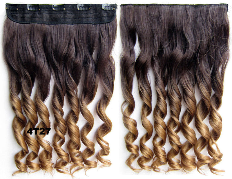 Clip in synthetic hair extension hairpieces 5 clips in on wavy slice hairpiece GS-888 4T27,60cm,130grams 1PCS