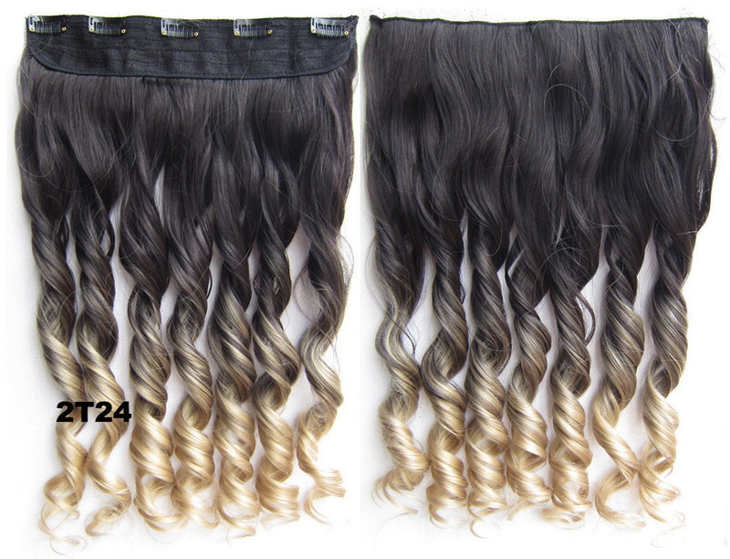 Clip in synthetic hair extension hairpieces 5 clips in on wavy slice hairpiece GS-888 2T24,60cm,130grams 1PCS