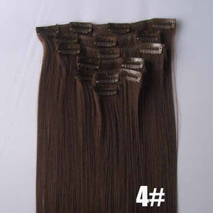 4# Bath&Beauty clip in synthetic hair extensions 7pcs/set,90grams hairpieces clip in hair 7pcs Straight hair,curly hairpiece,Hair Care,fashion COSPLAY ombre 1PCS