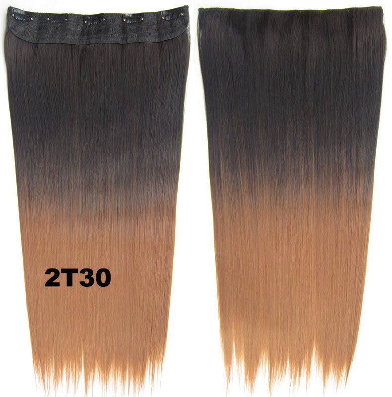 "Dip dye hairpieces New Fashion 24"" Women Clip in on gradient wig Bath & Beauty Hair Ombre Hair Extensions Two Tone Straight hair Gradient Hair Extension Colorful Hairpieces GS-666 2T30,1PCS"