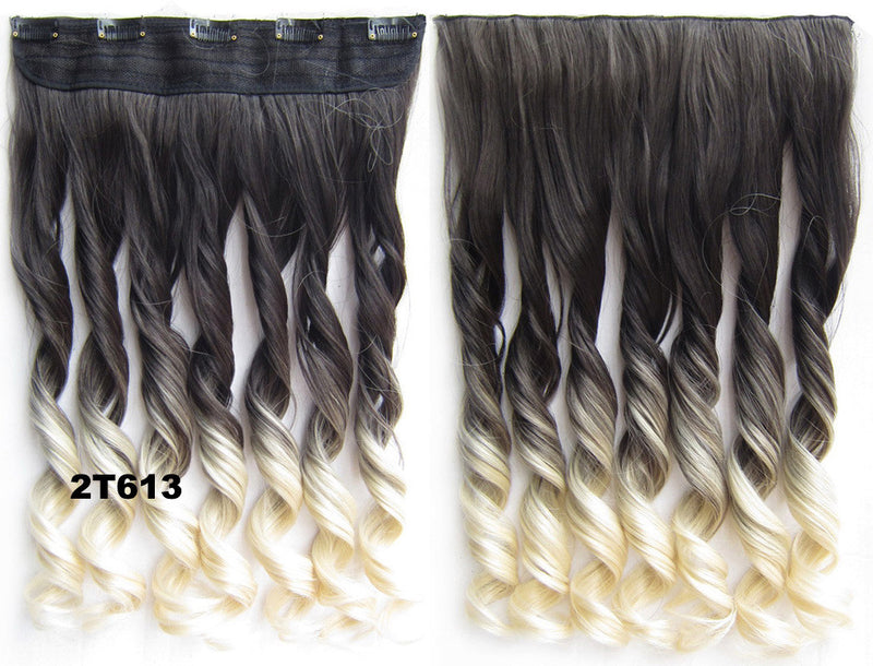 Clip in synthetic hair extension hairpieces 5 clips in on wavy slice hairpiece GS-888 2T613,60cm,130grams 1PCS
