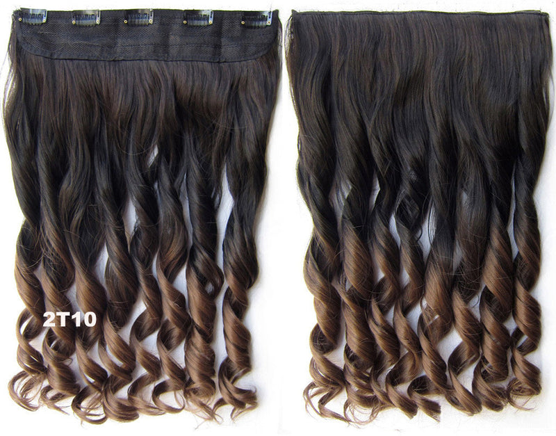 Clip in synthetic hair extension hairpieces 5 clips in on wavy slice hairpiece GS-888 2T10,60cm,130grams 1PCS